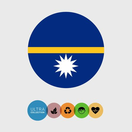 nauru: Set of vector icons with Nauru flag