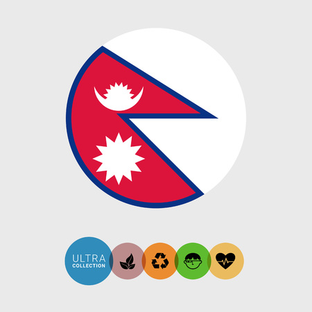 moon shadow: Set of vector icons with Nepal flag