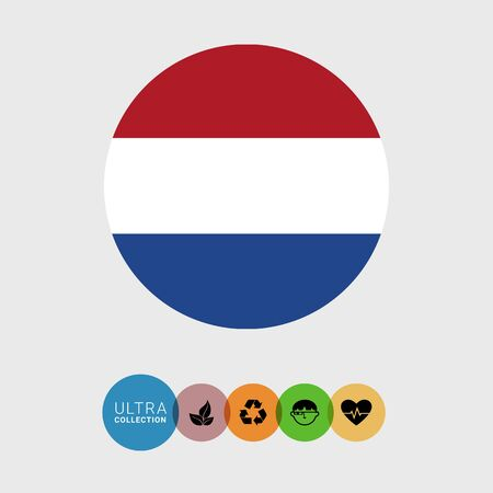 netherlands flag: Set of vector icons with Netherlands flag