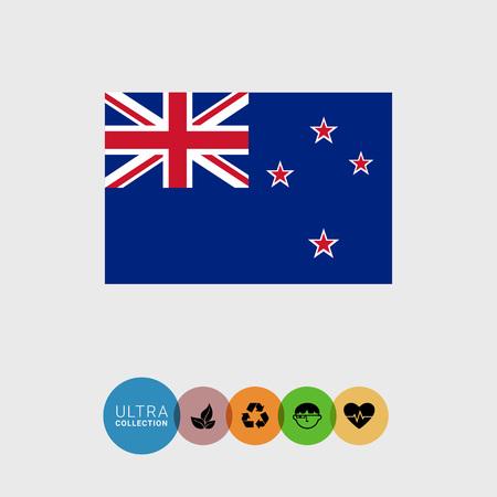 estrellas cinco puntas: Conjunto de iconos del vector con la bandera de Nueva Zelanda Vectores
