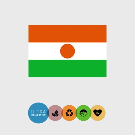 niger: Set of vector icons with Niger flag