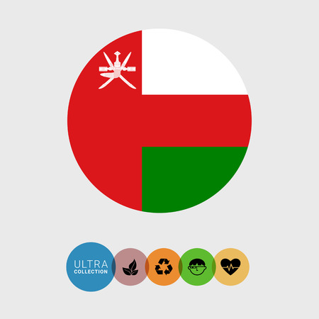 Set of vector icons with Oman flag Illustration