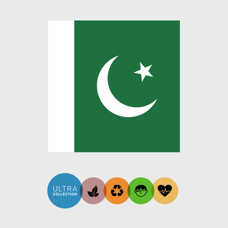 flag of pakistan: Set of vector icons with Pakistan flag Illustration
