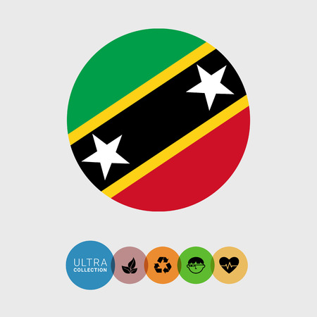 Set of vector icons with Saint Kitts and Nevis flag