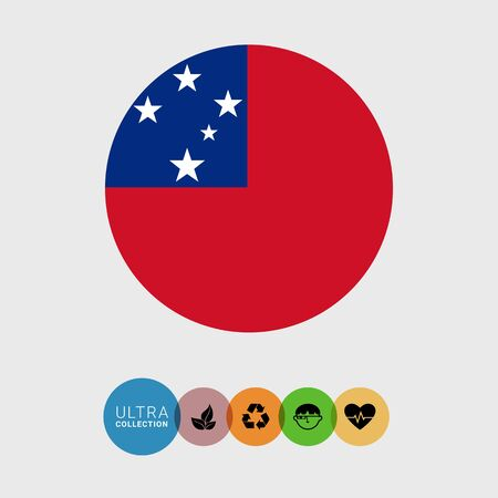 canton: Set of vector icons with Samoa flag