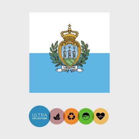 Set of vector icons with San Marino flag