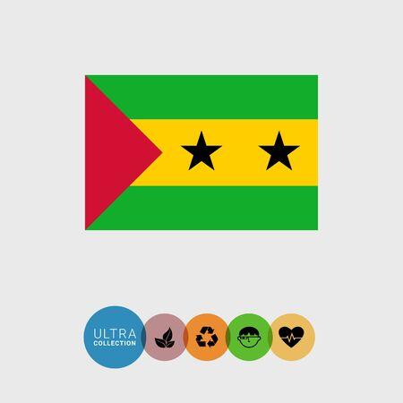 estrellas cinco puntas: Conjunto de iconos vectoriales con Santo Tomé y Principe bandera Vectores