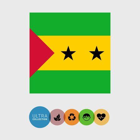 principe: Conjunto de iconos vectoriales con Santo Tomé y Principe bandera Vectores