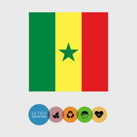 senegal: Set of vector icons with Senegal flag