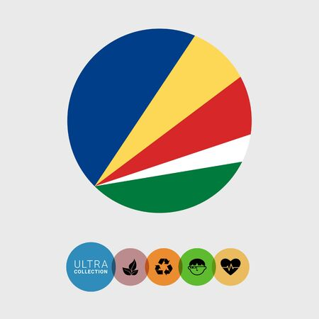 seychelles: Set of vector icons with Seychelles flag Illustration