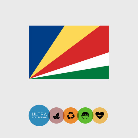 Set of vector icons with Seychelles flag