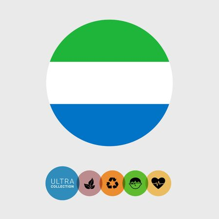 Set of vector icons with Sierra Leone flag