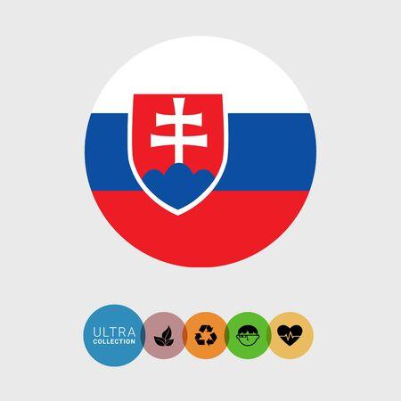 slovakia flag: Set of vector icons with Slovakia flag Illustration