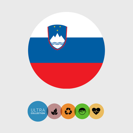 Set of vector icons with Slovenia flag Illustration