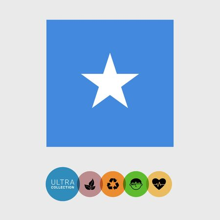 Set of vector icons with Somalia flag