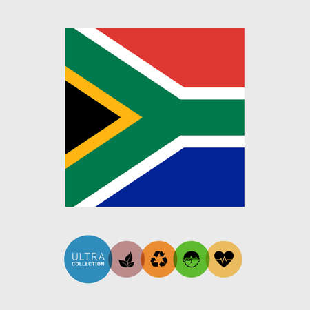 south african flag: Set of vector icons with South Africa flag