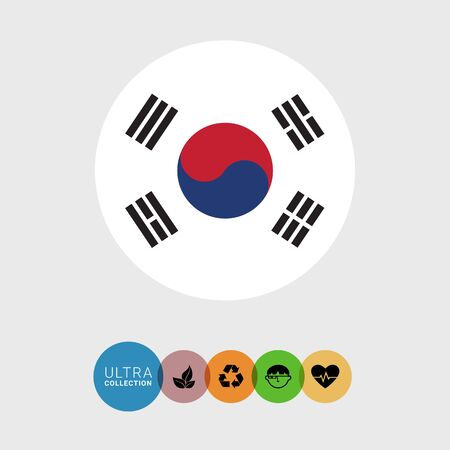 trigram: Set of vector icons with South Korea flag Illustration