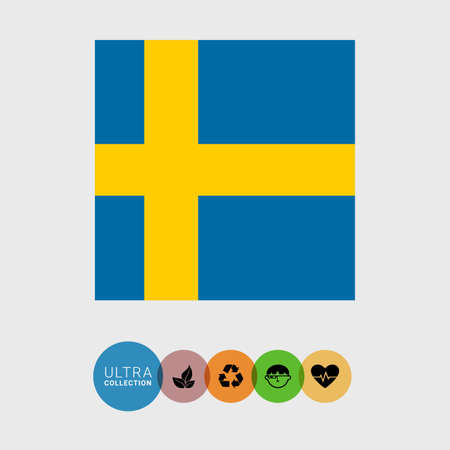 bandera suecia: Conjunto de iconos del vector de la bandera de Suecia