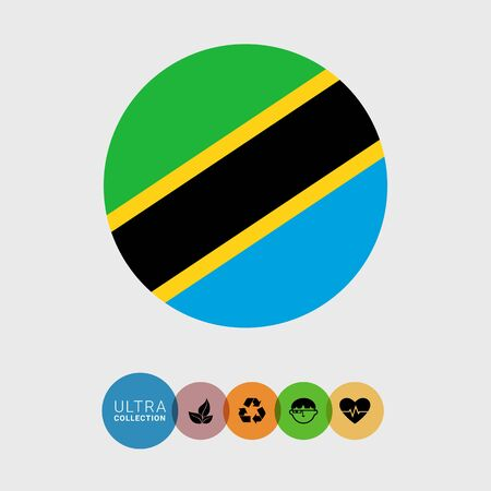 blue stripe: Set of vector icons with Tanzania flag
