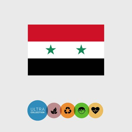 syria: Set of vector icons with Syria flag