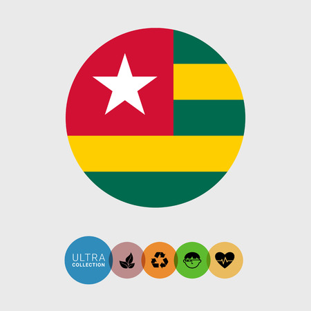 estrellas cinco puntas: Conjunto de iconos del vector con la bandera de Togo Vectores