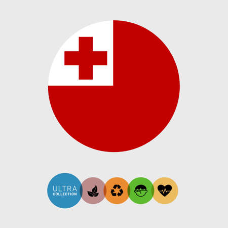 Set of vector icons with Tonga flag