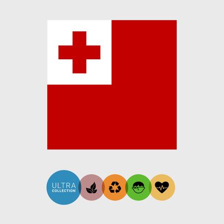 Set of vector icons with Tonga flag