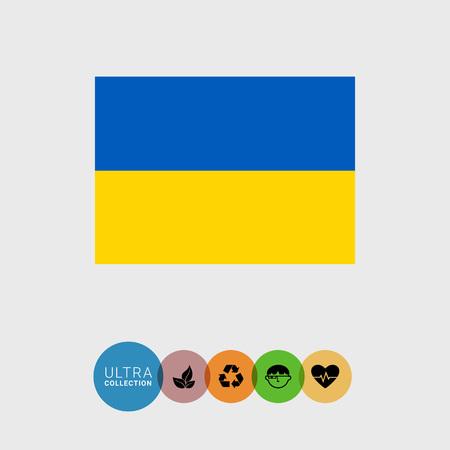 ukraine flag: Set of vector icons with Ukraine flag Illustration
