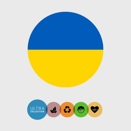 Set of vector icons with Ukraine flag Illustration