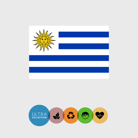 Set of vector icons with Uruguay flag