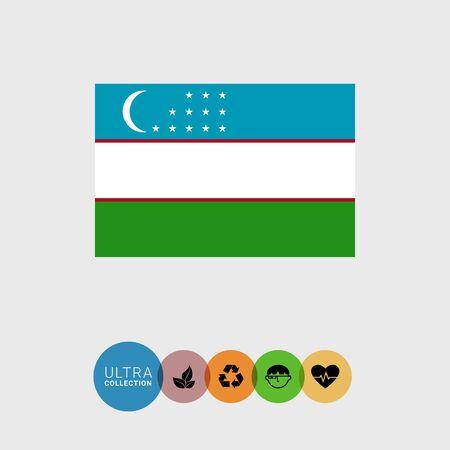 uzbekistan: Set of vector icons with Uzbekistan flag