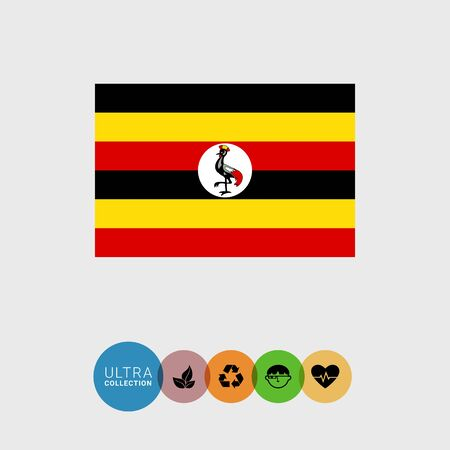 crowned: Set of vector icons with Uganda flag Illustration