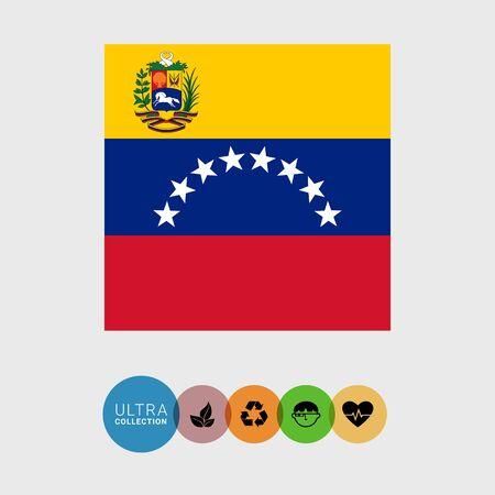 bandera de venezuela: Conjunto de iconos del vector con la bandera de Venezuela