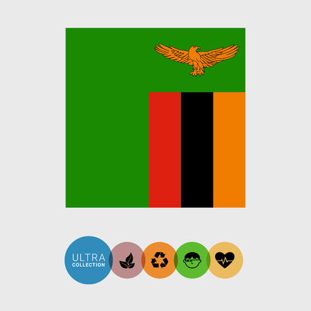 zambia flag: Set of vector icons with Zambia flag