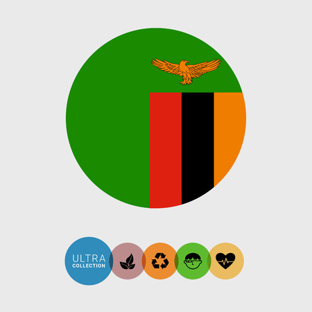 Set of vector icons with Zambia flag