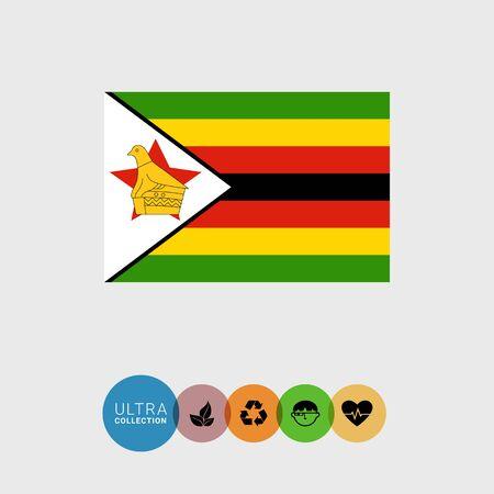 zimbabue: Conjunto de iconos del vector con la bandera de Zimbabwe Vectores