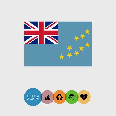 canton: Set of vector icons with Tuvalu flag