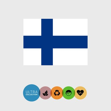 finland flag: Set of vector icons with Finland flag