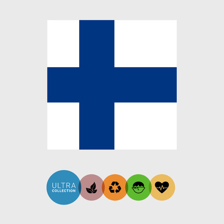 finland: Set of vector icons with Finland flag