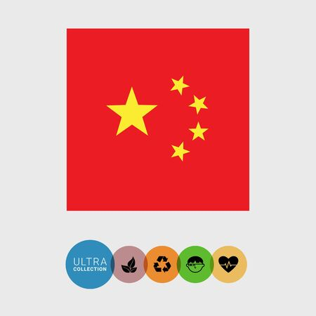 people's republic of china: Set of vector icons with flag of the People�s Republic of China