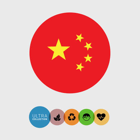 peoples: Set of vector icons with flag of the People�s Republic of China
