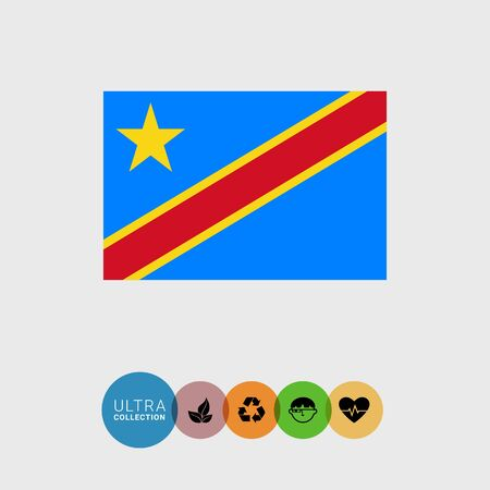 Set of vector icons with flag of the Democratic Republic of the Congo Illustration