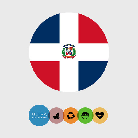 Set of vector icons with flag of the Dominican Republic
