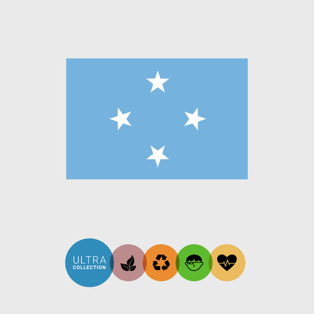 federated: Set of vector icons with flag of the Federated States of Micronesia Illustration