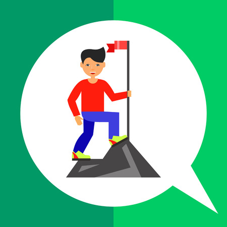 mountain top: Man reached mountain top setting flag. Success, goal, challenge. Achievement concept. Can be used for topics like business, management, finance.