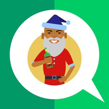 santa costume: Male character, portrait of African American man wearing Santa costume, holding bottle Illustration