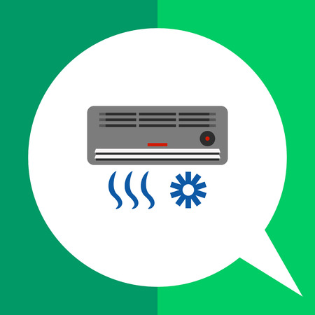 air flow: Multicolored vector icon of air conditioning device with air flow and cold sign Illustration