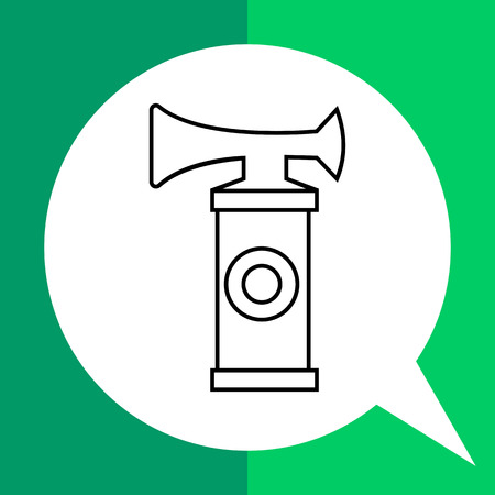 Air horn flat icon. Line illustration of sport fan horn