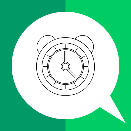 sounding: Vector line icon of classic round alarm clock with bells