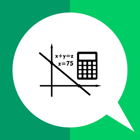 equation: Monochrome vector icon of graph, equation and calculator representing algebra